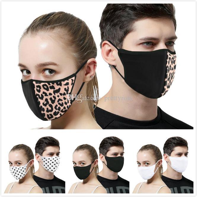 Anti-Polvo de la boca de algodón cara Massk Unisex Hombre Mujer Ciclismo El uso de impresión Negro Leopard algodón Moda Máscaras buena calidad