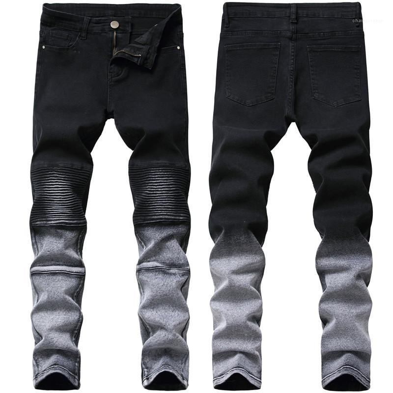 Fit Mens Pants Tide Hole Washed Trousers Designer Casual Mens Jeans Summer Black Male Jeans Sim