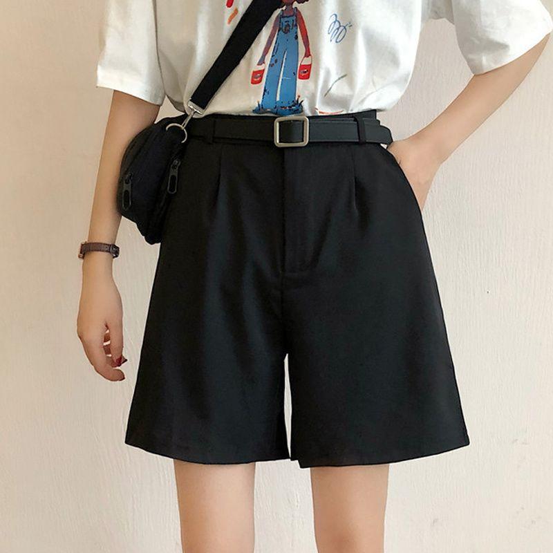 all'ingrosso 2020 Pantaloni nuova delle donne mini vita alta con cintura femminile Solid gamba larga Pantaloni Donna Suit Pants Estate Harajuku coreana