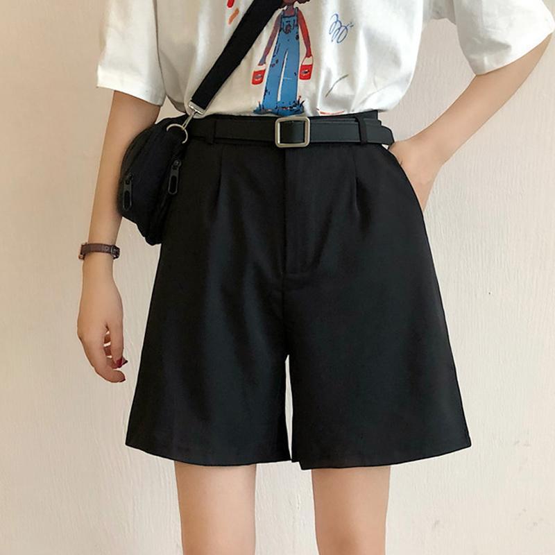 venta al por mayor 2020 nuevos pantalones de las mujeres mini alta de la cintura con la correa femeninos ancho sólido pernera del pantalón de las mujeres traje pantalón de verano Harajuku coreana
