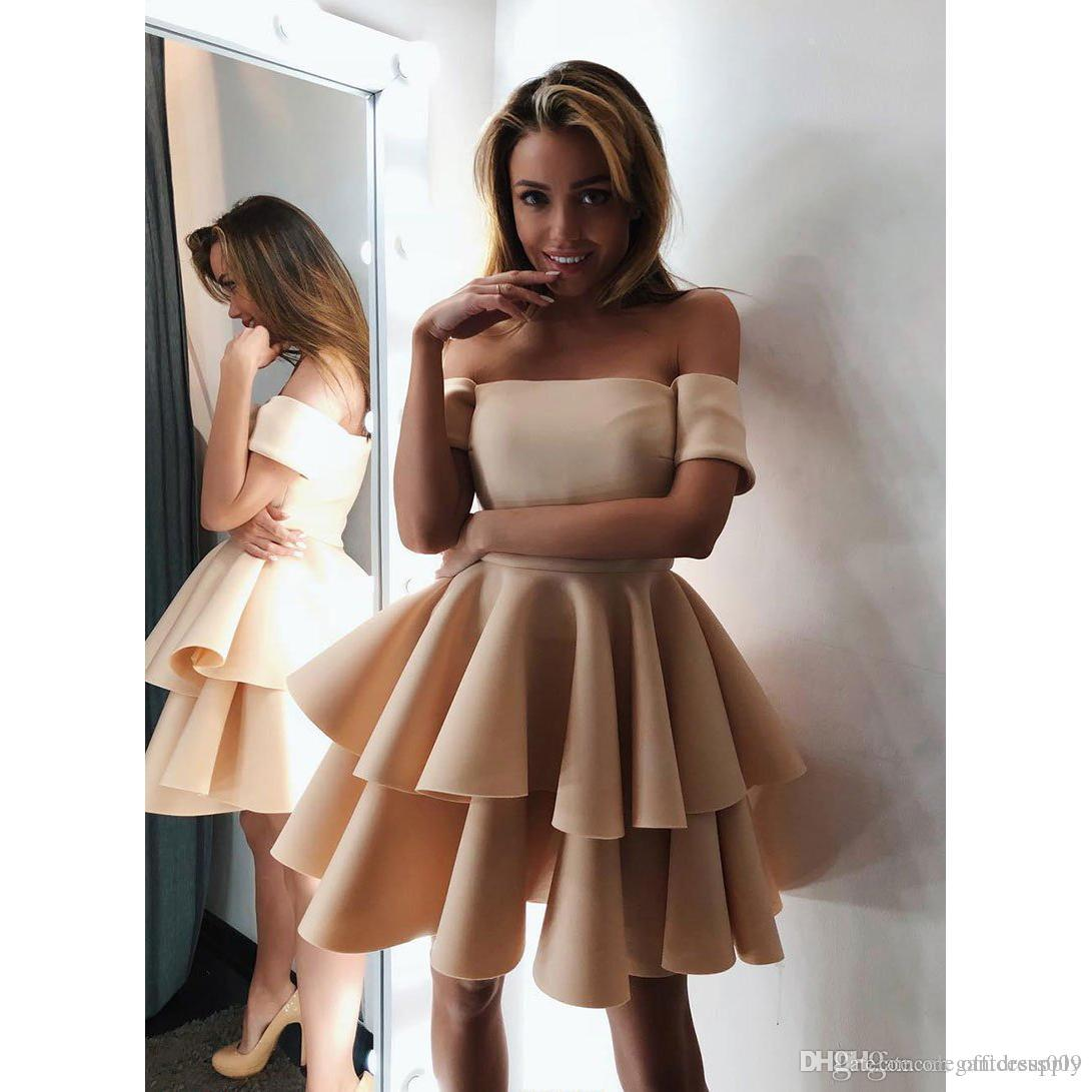 2020 Short Junior Homecoming Dresses Arabic A Line Off Shoulders Satin Knee Length Ruffles Mini Cocktail Party Prom Gowns robe de mariee