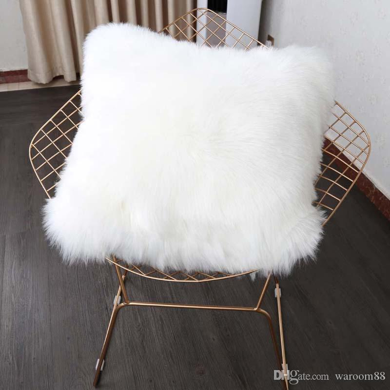 "18/"" Fur Plush Square Throw Sofa Car Cushion Cover Pillow Cases Home Accessories"