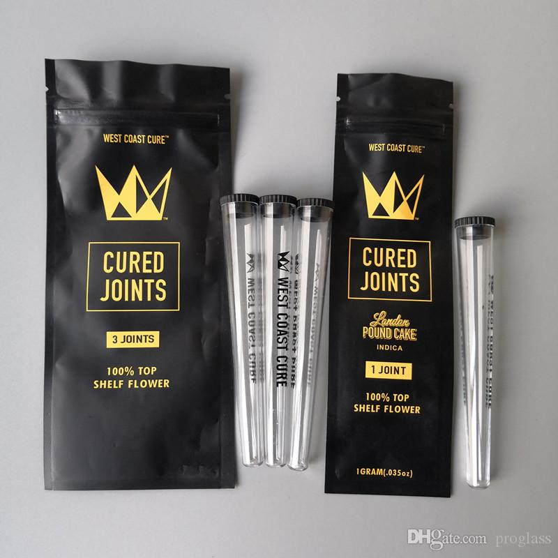 West Coast Cure 3PCS 1PCS POLIMERIZZATO GIUNTI BAG + PLASTICA TUBI Packaging Tube 2020 Moonrock preroll pre-laminati