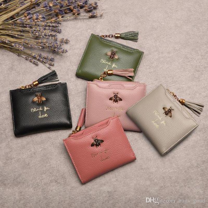 2020 Nuovo Portafoglio Donna Bee pelle Vera pelle Porta Coin Purse Lady carta di credito femminile portafoglio con la nappa con cerniera trasporto libero