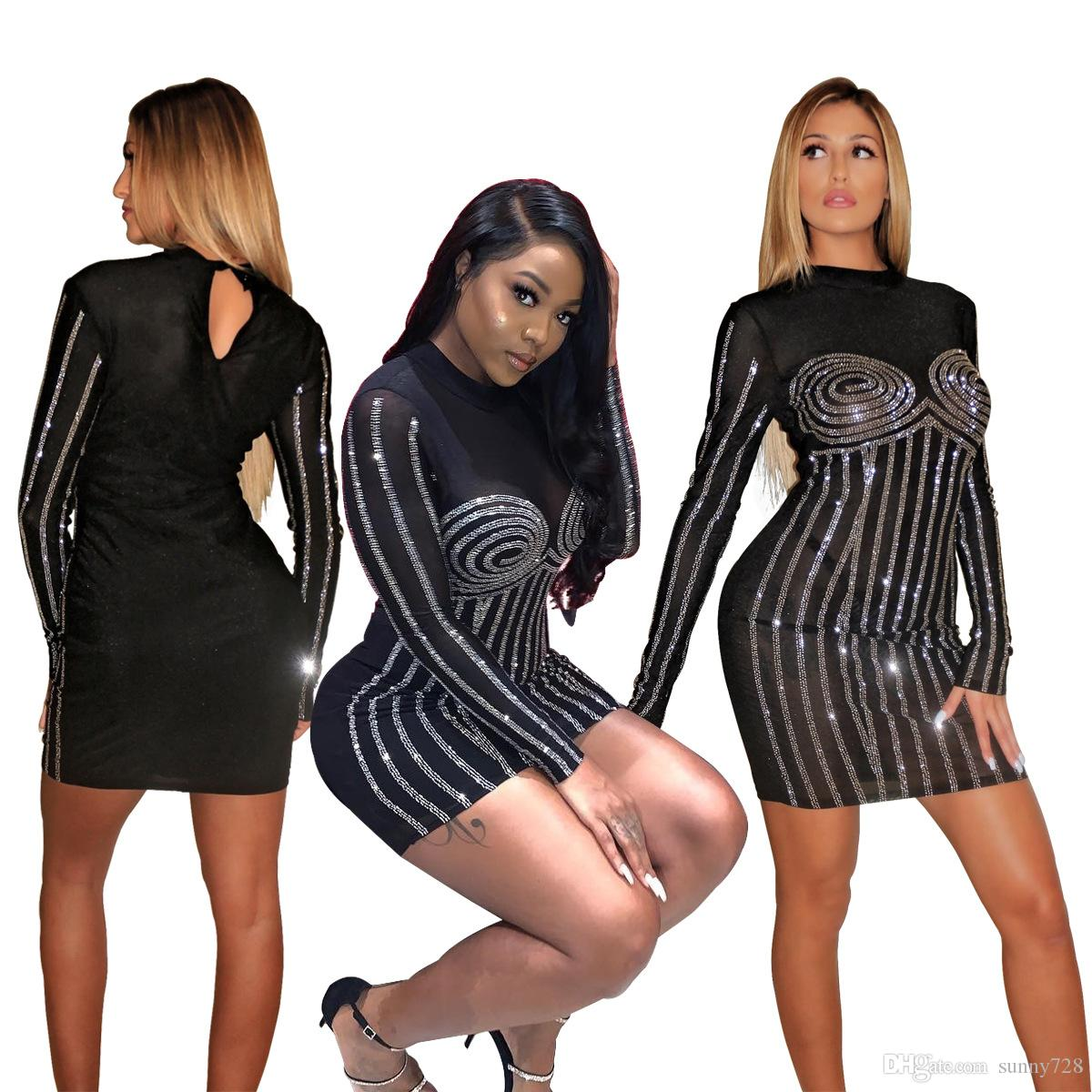 Bling Bling Crystals Bead Black Women Party Cocktail Dresses 2019 New Arrival Crew Neck Long Sleeve See Through Sexy Night Out Bandage Dress