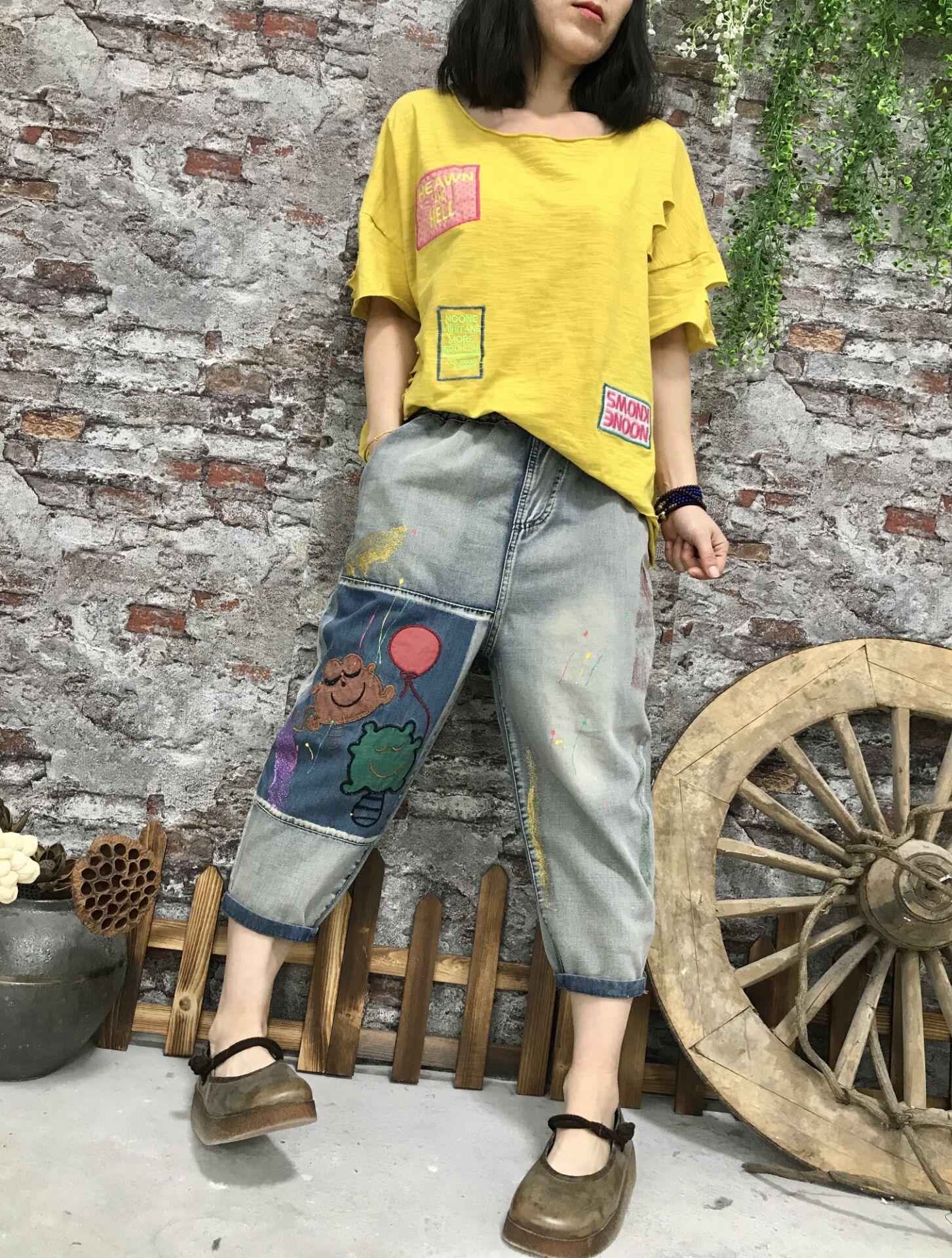 Le pantalon bleu Haroun Colorés dessin ou modèle Femme Jeans En été Bk4625