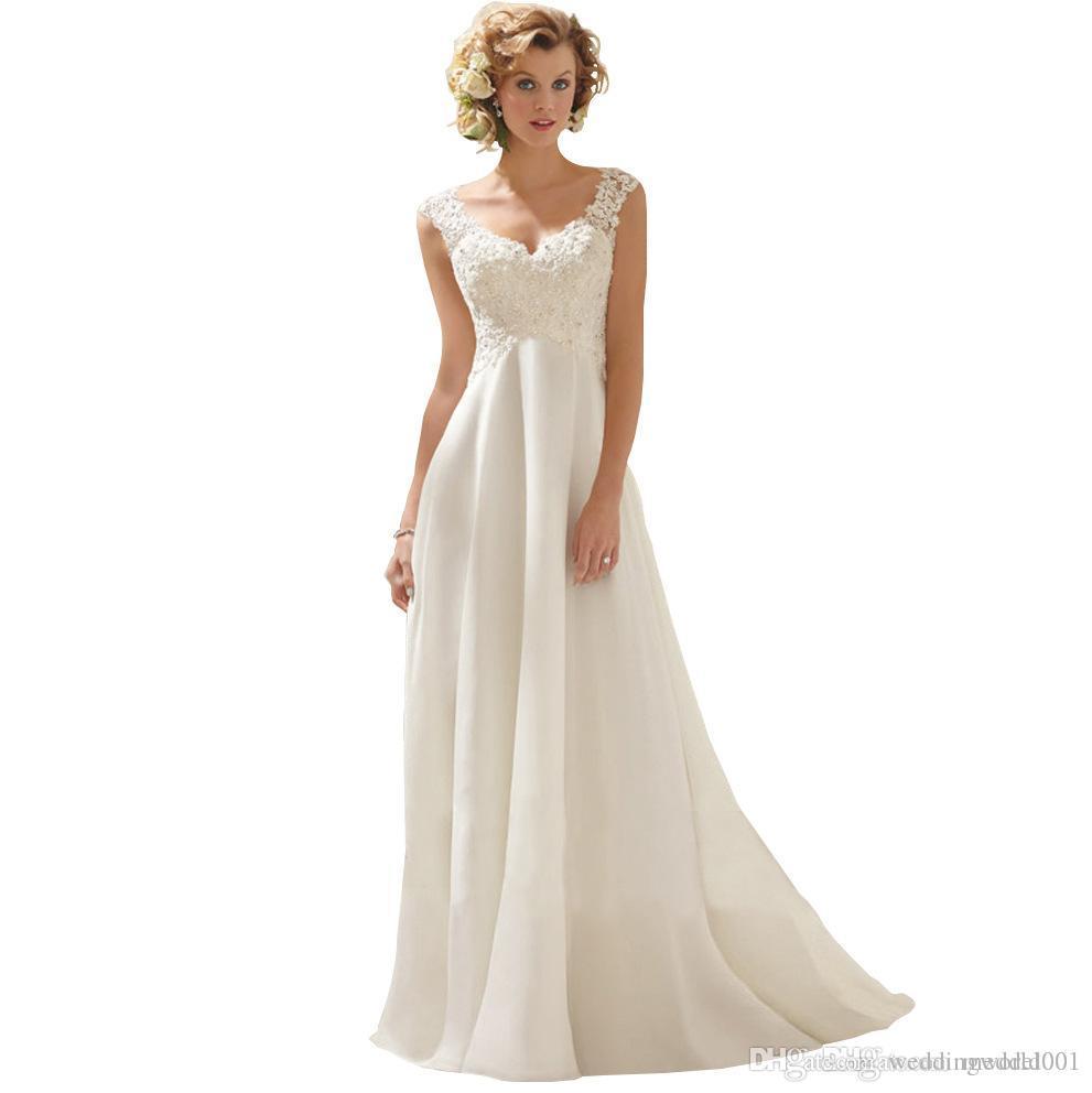 الموضة الجديدة الراقية V الرقبة الديكور الشيفون قطار المحكمة فستان الزفاف فستان دي Noiva الفنية مخصص