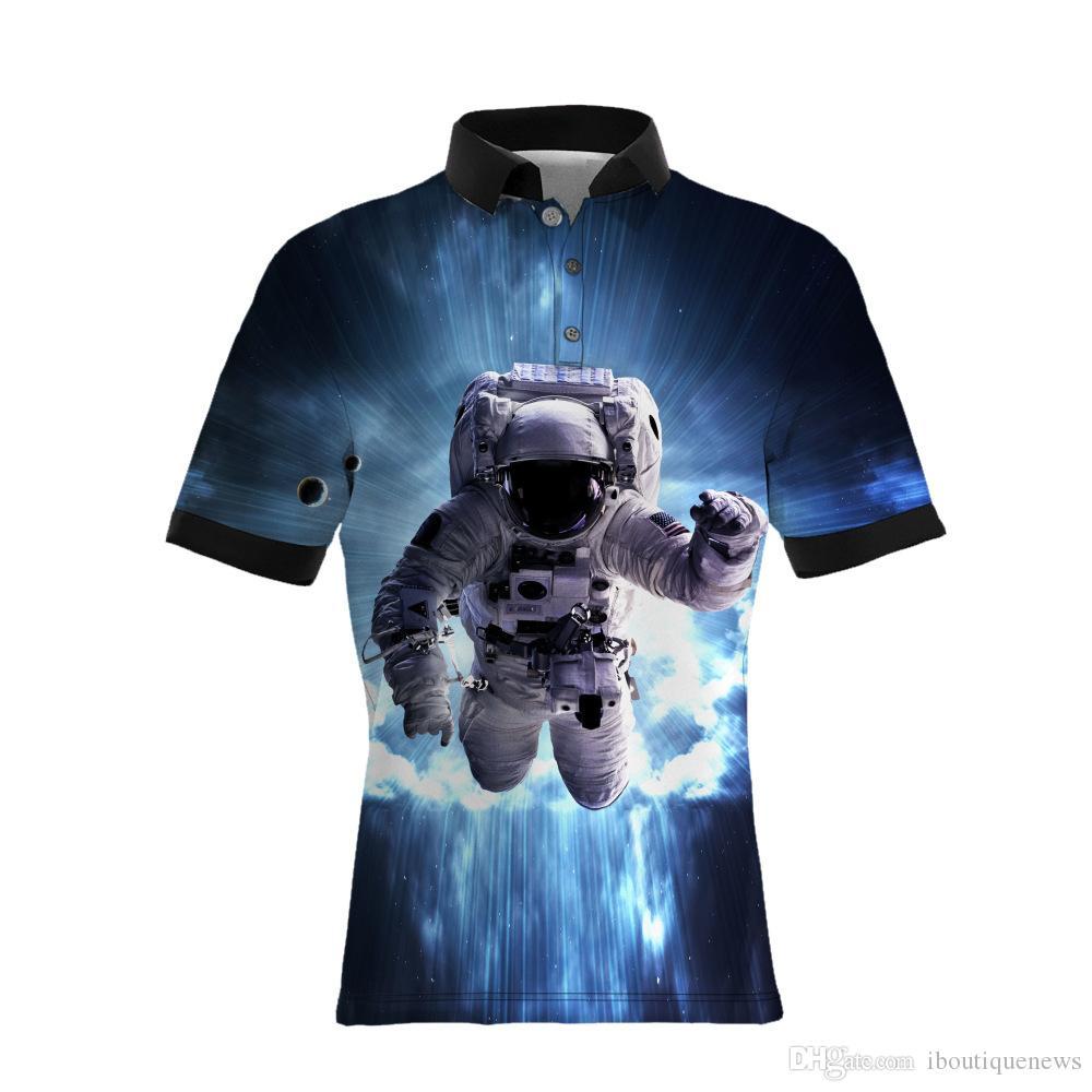 19SS Nuevo estilo Patrón de astronauta de impresión de los polos ocasionales de los hombres Vendedores calientes TAMAÑO GRANDE Mens Designer T Shirts Versión suelta