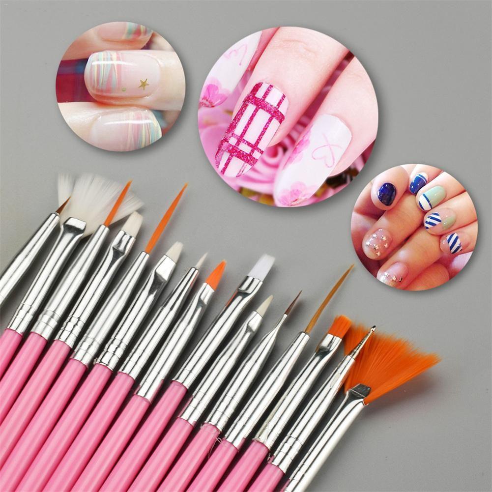 15Pcs Professional Nail Art Brush Set Line Drawing Painting Pen UV Gel Polish Designs Acrylic Perfect Manicure Books On Tools S3