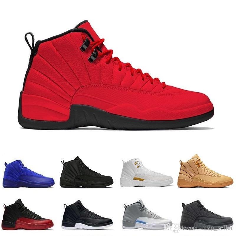 Avec Box 12 Laine Designer Basketball Chaussures Loyal Bleu 12S Noir Blanc Gym Rouge cerise verre de rétro Michigan 2003 J12 Chaussures de sport