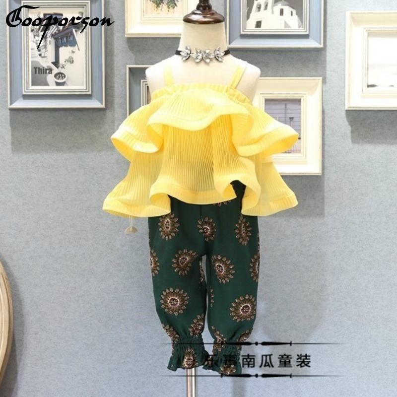 2019-Sommer-Mädchen-Kleidung stellte Mädchen-süße feste Hemd und Laterne Hosen Set Baby-Mode Kleidung Anzug Gelb Oberteile Hosen