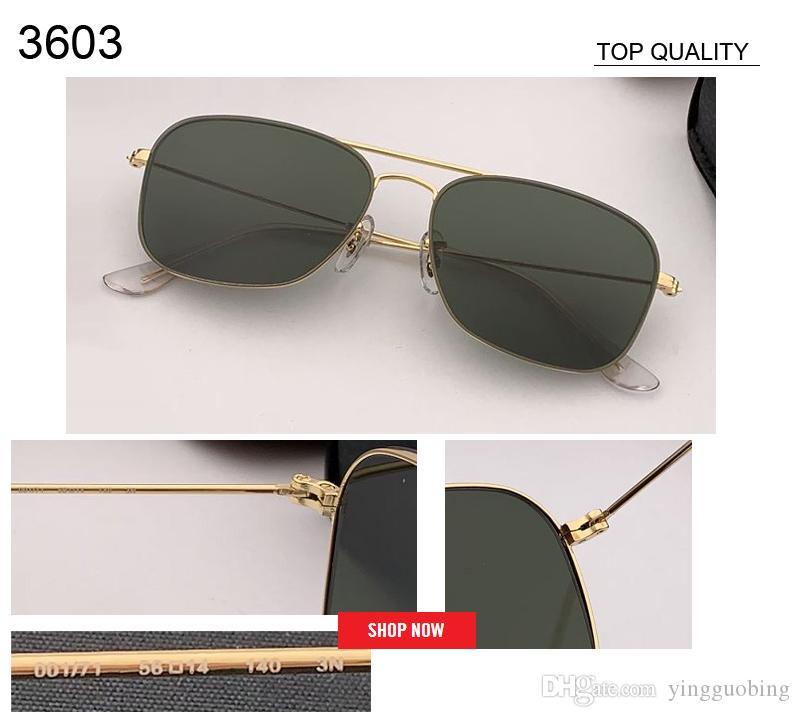 2019 بالجملة أعلى جودة أزياء نسائية جديدة مربع نمط المعدنية UV400 النظارات الشمسية خمر الكلاسيكية 3603 الرجال النظارات الشمسية العلامة التجارية Oculos gafas دي سول