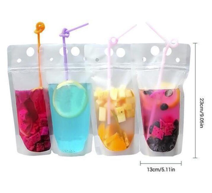 휴대용 미국 주식 투명 음료 파우치 클리어 음료 가방 서리로 덥은 자기 밀폐 된 우유 커피 주스 음주 플라스틱 가방 플라스틱