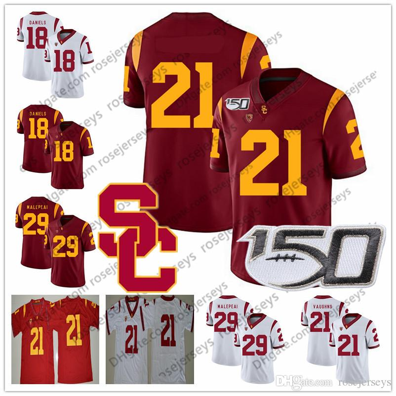 Customized USC Trojans 21 Tyler Vaughns 29 Vavae Malepeai 81 Kyle Ford Red White 2019 NCAA 150TH Men Youth Kid Football Jersey 4XL