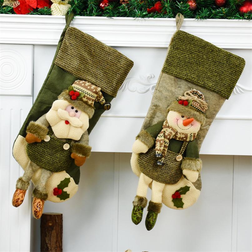 Bolsas de Navidad de Santa Claus muñeco de nieve que almacena calcetines Chritsmas regalo para los bolsos del caramelo embutidoras Enfeites De Natal