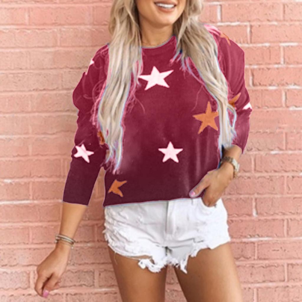 Осень зима женщины толстовки пуловер топы повседневная галстук-краситель Звезда печати Каваи O шеи негабаритных толстовка Женская одежда