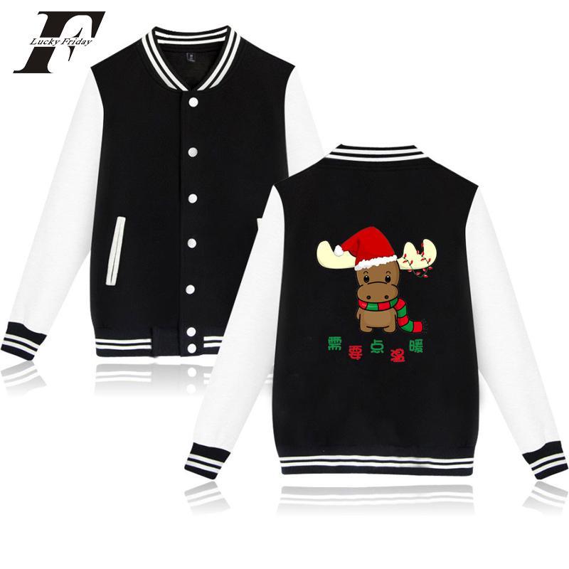 Женские куртки LuckyFrifayf 2021 Harajuku Chrismas бейсболка для бейсболки бомбардировщик женская варевая одежда зимние пальто одежды плюс размер 4xL