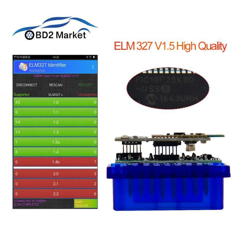OBD2 Mini ELM327 Bluetooth diagnostic tool with PIC25K80 chip elm 327 V1.5 code reader car diagnostics free shipping newest scan