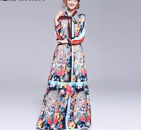 2019 Tasarımcı Geri Kat-uzunluk Elbise 2019 Güz Kadın Papyon Yaka Hit Renk Çiçek Baskı Salıncak Pileli Elbise