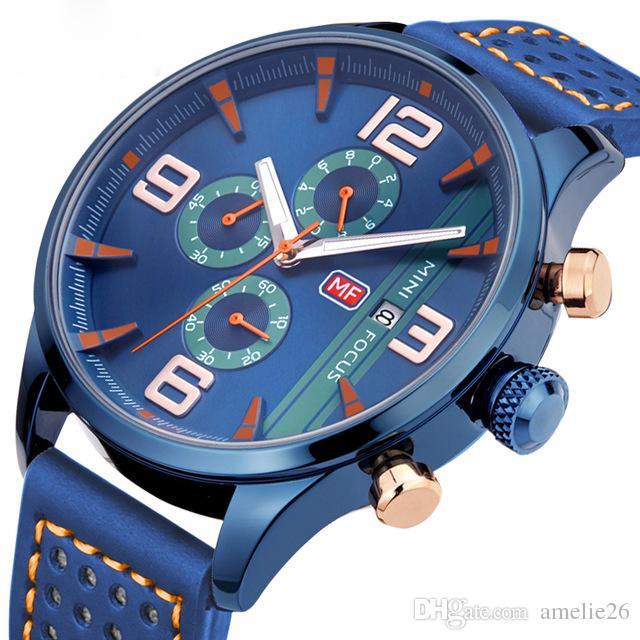 Морские часы с хронографом Мужские кварцевые аналоговые часы с 3 циферблатами и 6 стрелками контрастного цвета. Модные кожаные ремешки.