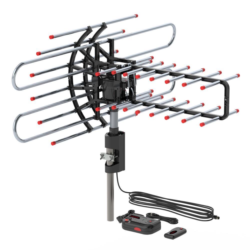 Открытый HDTV TV Andenna усиленная моторизованная 360 градусов вращения цифровой антенны 36DB ротор UHF / VHF / FM 150MILES Hot