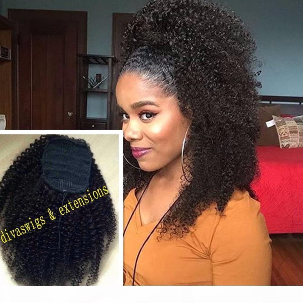 160г Афроамериканец смоль афро Puff 3в Kinky завитые шнурок хвостики выдвижение человеческих волос конский хвост волосы кусок