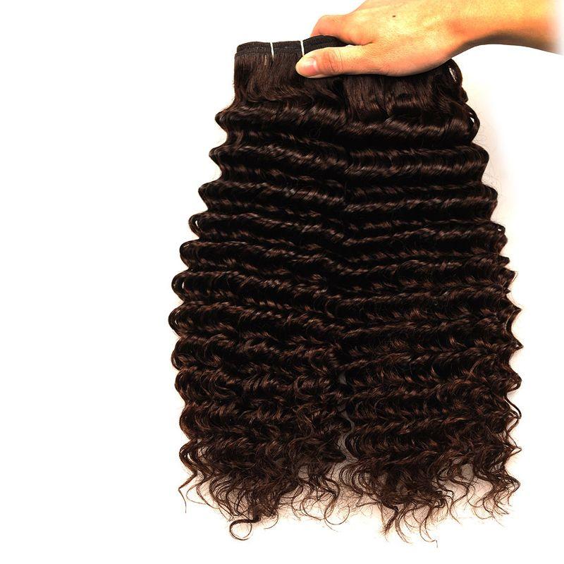 Farbe 4 # tiefe Welle brasilianisches Haar Weaves 100% Rohboden Menschenhaar-Verlängerungen 100g ein Bündel 3 Bundles ein Los, freies DHL