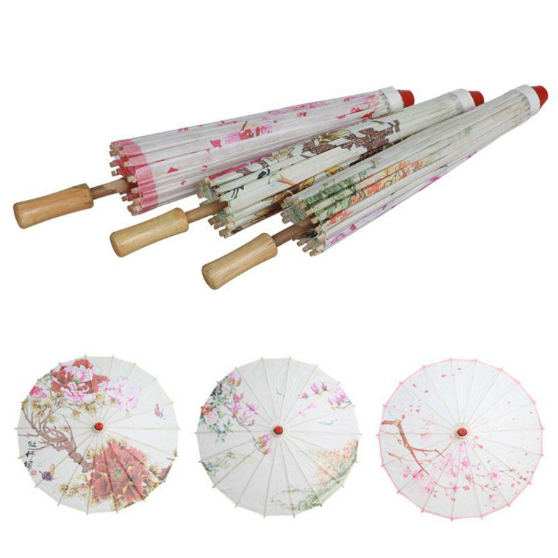 Óleo Pintura Chinesa Pintura Wedding Party Dance Umbrella Decoração nupcial Handmade Art Paper Umbrella Floral