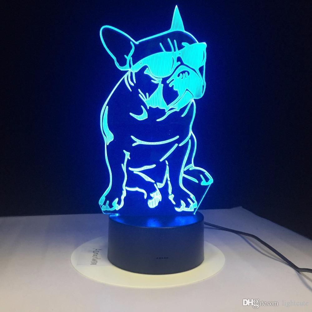개 애인을위한 아크릴 램프 선물을 변경 선글래스 3D LED 나이트 라이트 프렌치 개 장식 조명 컬러와 프랑스 불독