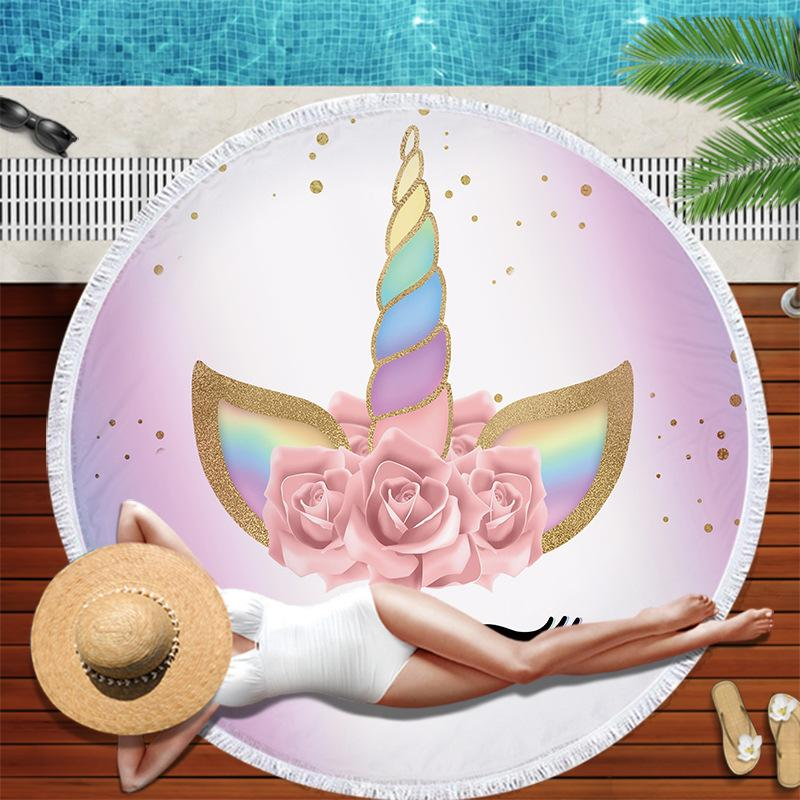 Yetişkin Mikrofiber Duş Banyo Havlu Seyahat Battaniye Yüzme Kapak Açık Yoga Mat İçin Unicorn Yuvarlak Güzel Plaj Havlusu