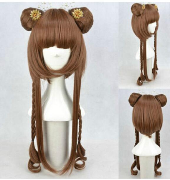 ENVÍO GRATIS + Moda para la mujer Pretty Brown Twin Braids + Bun Head Peluca ligeramente rizada