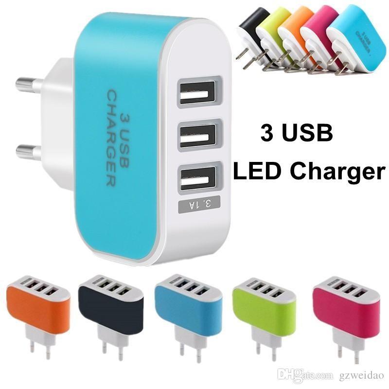 범용 3 포트 벽 충전기 LED 여행 어댑터 5V 3.1A 트리플 USB 충전기 미국 EU 플러그 아이폰 iPad 삼성 Huawei Xiaomi