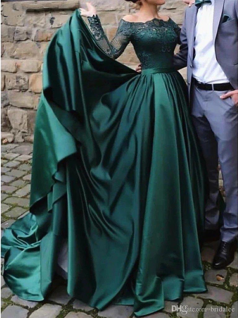 Элегантные Мусульманские с длинным рукавом Кружева Зеленый Вечерние платья 2020 Off плеча атласная бальное платье Формальные платье партии