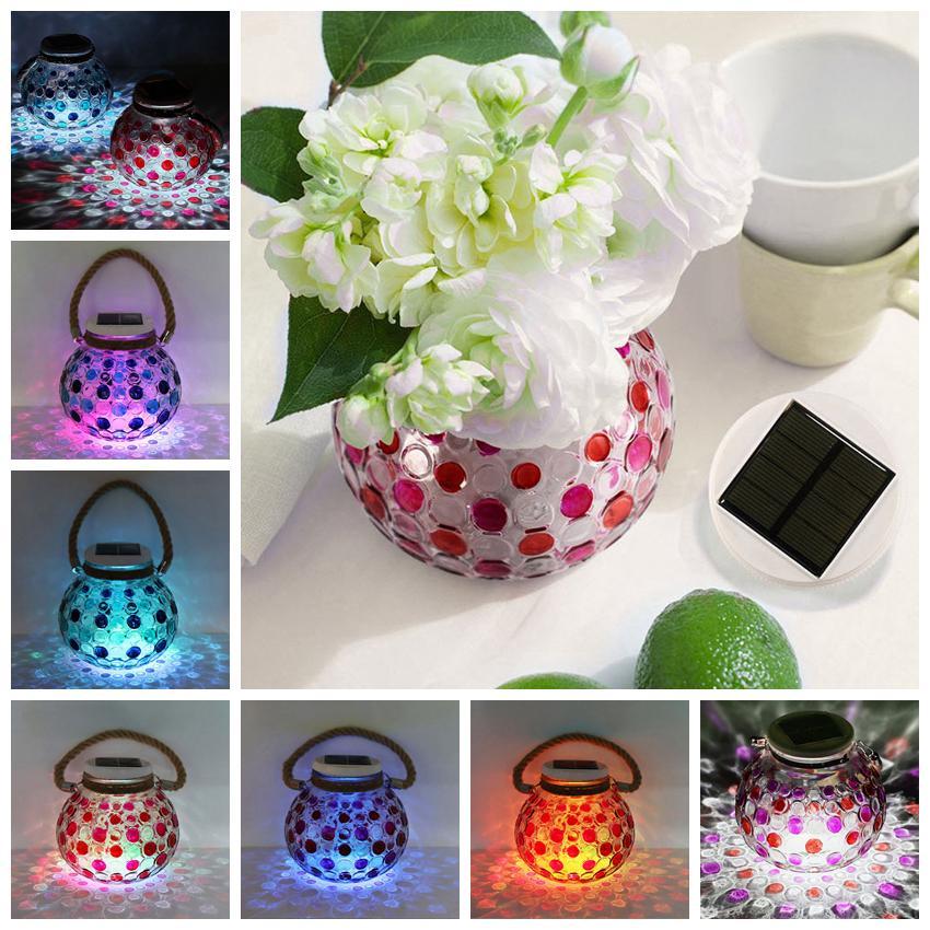 Lámpara solar color botella de vidrio Lámpara de visualización Lámpara decorativa Luces de jardín de Navidad dentro de botella de vidrio jarra de vidrio luz solar LJJZ370