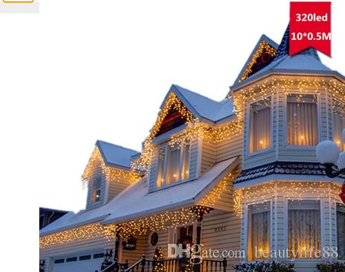 110 V 220 V EU / الولايات المتحدة قابس 10 م 320 LED أضواء عيد الميلاد في الهواء الطلق الزفاف الأبيض زينة عيد الميلاد الدافئة الأضواء الساطعة سلسلة خرافية