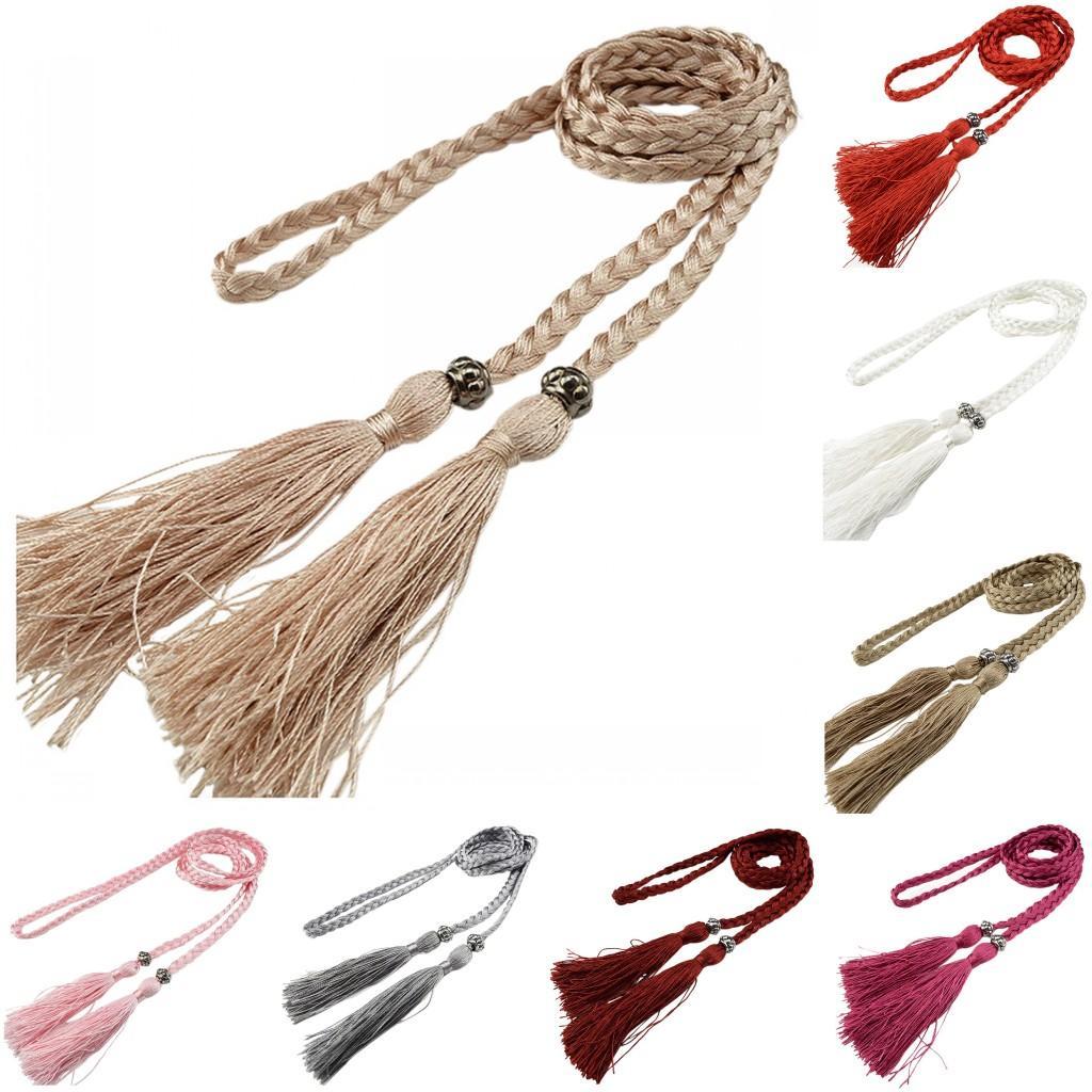 Chinese geflochtene Stil Gewebte Quaste Gürtel Knoten verziert Taille Kette Taille Seil