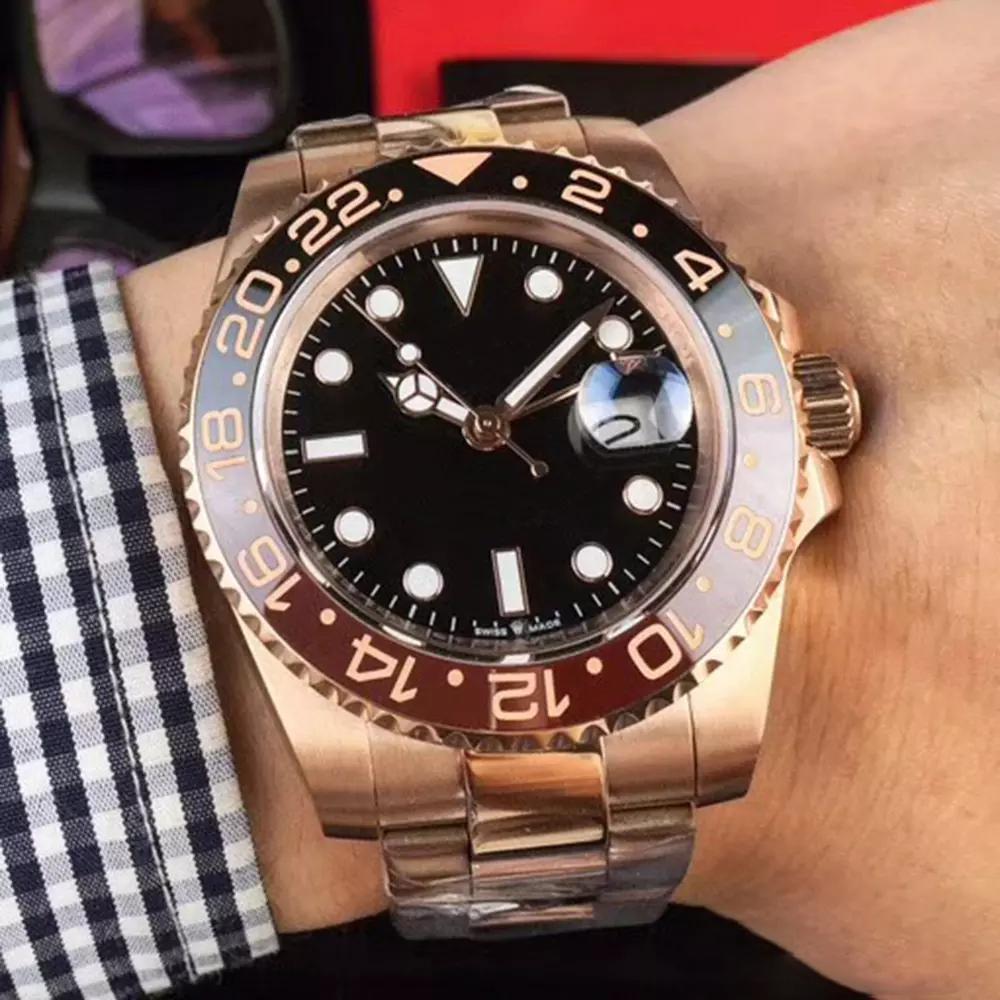 New Rose gold GMT2 quotate mens V3 versione Batman guardare movimento automatico ceramica lunetta girevole zaffiro orologio da polso cinturino in acciaio vetro