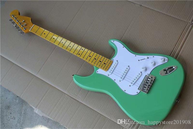 Lata in acero retrò Green Body Green Body Guitar con PickGuard Bianco, Hardware Chrome, Pickups SSS, può essere personalizzato