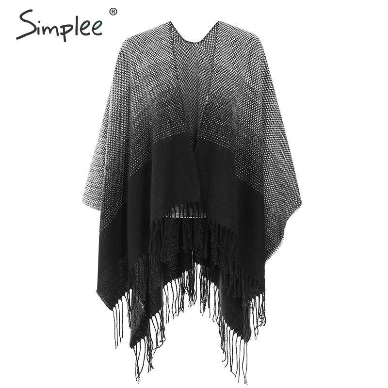 Simplee scialli casuali di inverno caldo sciarpe Streetwear donne della nappa geometriche sciarpa signore ufficio elegante della sciarpa lunga chic autunno