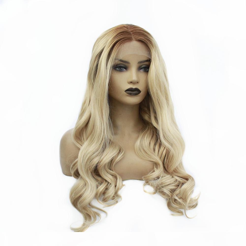 Pelo de la fibra ombre Rubio Sin cola sintéticos raíces del frente del cordón pelucas oscuro largo onda del cuerpo a prueba de calor de la Mujer de 24 pulgadas