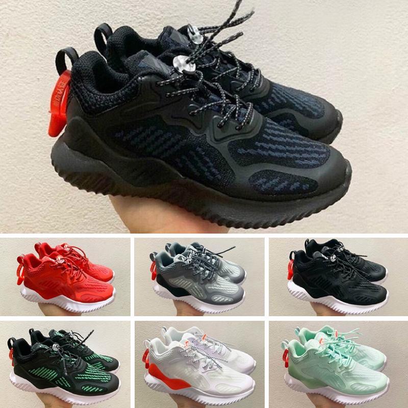 Adidas AlphaBounce Air Huarache Ultra Running Shoes Big Kids Ragazzi e ragazze Black White Air Huaraches Huraches Sneakers sportive Scarpe da ginnastica Athletic Scarpe A035