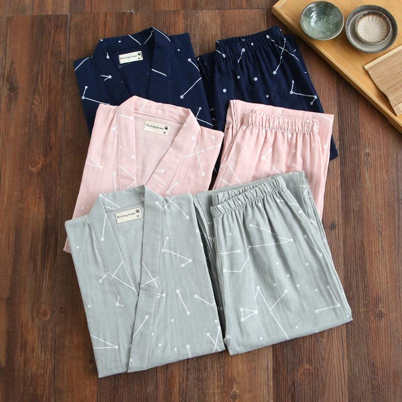 2020 Nuova casa di usura di estate Cotone Stampa Pigiama Tuta coppia dolce Sleepwear 2PCS ShirtPant dormono insieme allentato Lover biancheria da notte