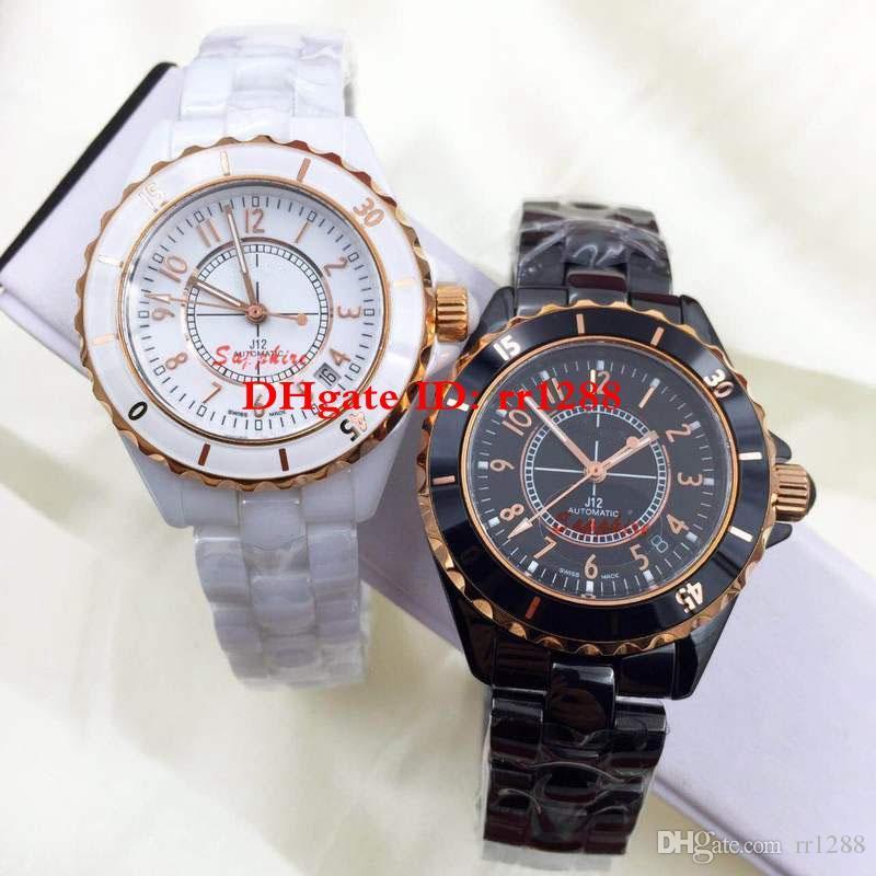 2 renk En Kaliteli Moda izle serisi 38 MM seramik kasa çerçeve Otomatik makine saatı Aşk İzle Unisex Mens Womens Saatler