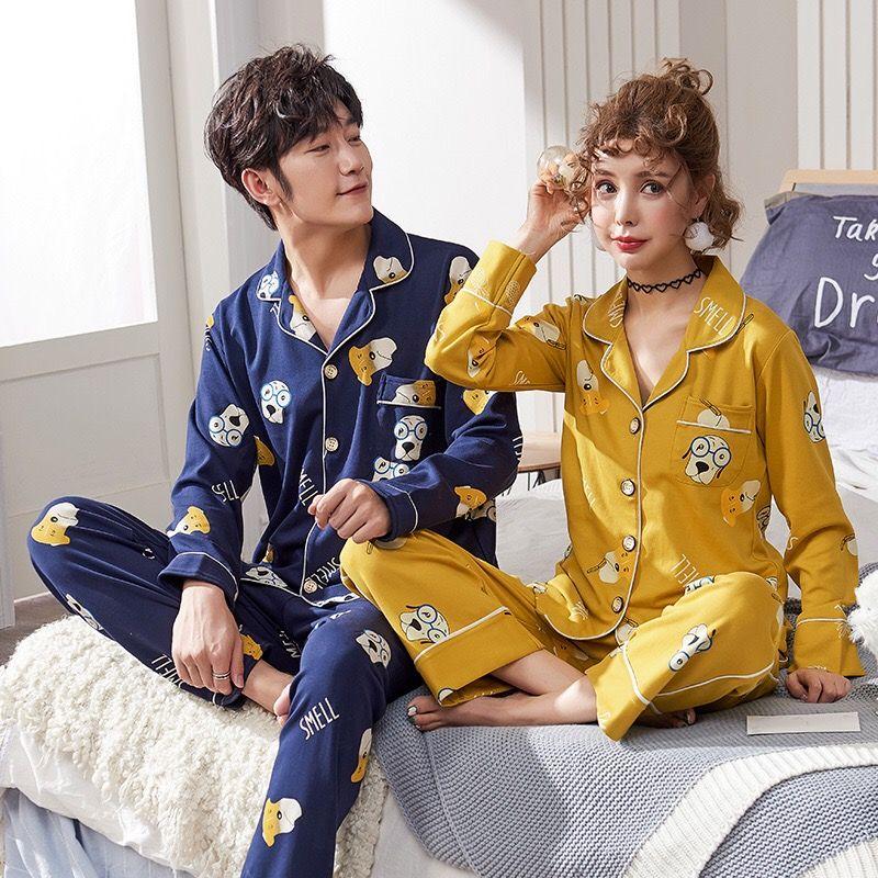 pigiama PKSAQ per le donne e gli uomini unisex 100% cotone gatto lungo maniche Pajama Set Coppia Pure Pigiama uomo pigiameria set