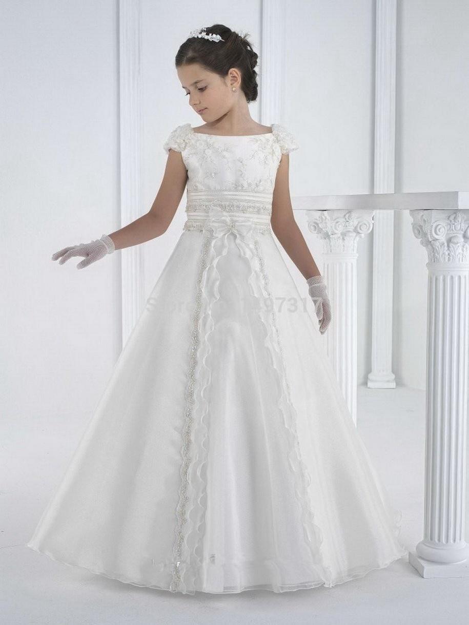 2020 Nouveau Blanc d'Ivoire mignon robes fille fleur avec perles en cristal dentelle Applique robe de bal robe de première communion pour les filles sur mesure