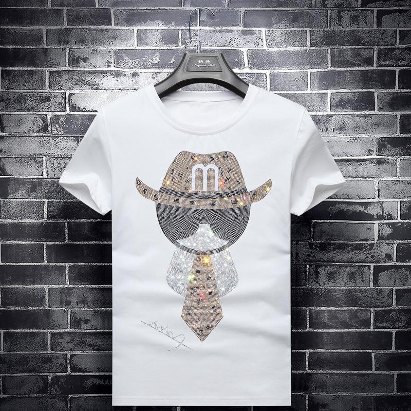 Narin Kristal Tişört Moda Kısa Gömlek Adam Yaz Gömlek Çift XL Giyim Shining Kişilik Tie Şapka Tişörtler