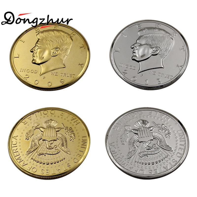 Argento / Oro Colore Jumbo moneta magica del dollaro mezzo 73mm Tricks superiore magia mago Gimmick MSW1850