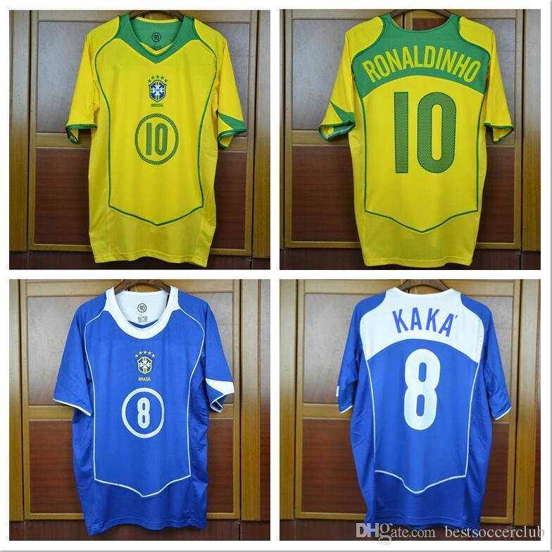 Acquista Coppa Del Mondo 2004 Brasile In Trasferta Maglie Blu KAKA RONALDO Rivaldo Brasil Magliette Retrò Carlos Romario Ronaldo Ronaldinho Maglia A ...
