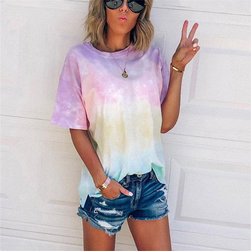 Allentato casuale delle donne, Sfumatura di colore Stampa maglietta corta estate del manicotto 2020 nuovo modo Tie-dye Stampa corta T-shirt più la camicia Size
