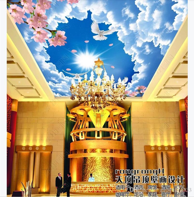 Пользовательские 3D потолок фото Зенит фреска обои внутренняя отделка небо облака листья персиковый цветок бабочка пейзаж потолок Зенит фреска